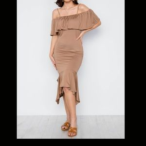 NWT Mocha Cami Flounce Cut Out Dress